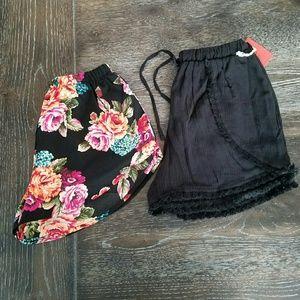Pants - Festival Shorts High Waist Side Floral & Fringe